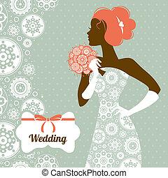 mariage, invitation., mariée, silhouette, beau