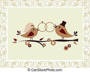 mariage, oiseaux, invitation