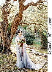mariage, olive, stands, sous, bouquet, bosquet, mariée, arbre, beau