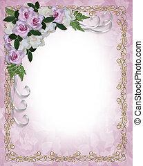 mariage, roses, invitation, gardénias