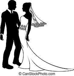 mariage, silhouette, mariée, palefrenier, couple