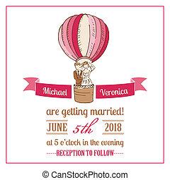 mariage, -, vecteur, invitation, album, conception, carte