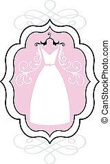 mariage, vecteur, robe, cadre