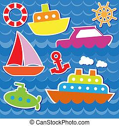 marin, autocollants, transport
