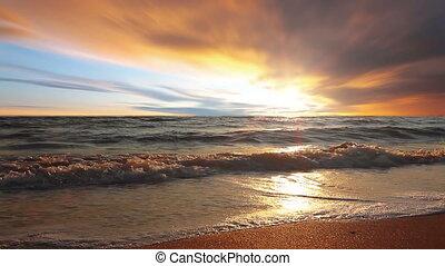 marin, coucher soleil
