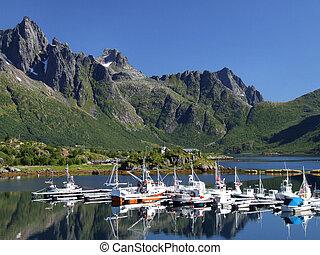 marina, scénique, yacht, norvège