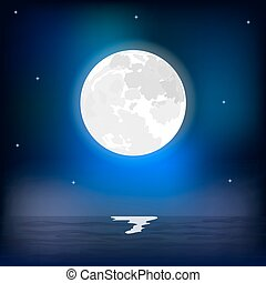marine, entiers, pendant, nuit, lune