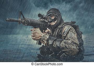 marine, homme-grenouille, cachet