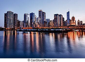 marine pier, sur, coucher soleil, chicago