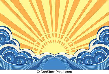 marine, résumé, illustration, vecteur, mer, waves.
