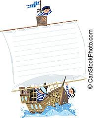 marins, bateau, bannière, heureux