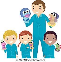marionnettes, gosses, stickman, prof, illustration