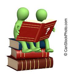 marionnettes, lecture, dictionnaire, 3d