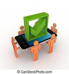 mark., mobile, gens, téléphone, tique, vert, 3d, petit