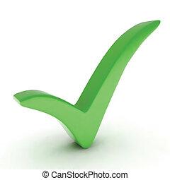 mark., vecteur, vert, chèque