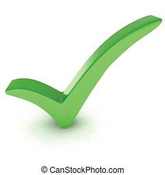 mark., vecteur, vert, chèque, isolé