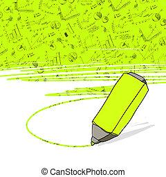 marker., bureau affaires, réussi, vector., graphiques, highlighter jaune, mis valeur
