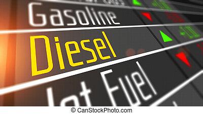 market., diesel, produit, stockage