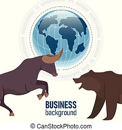 market., financier, business, blue., résumé, analytics., ours, fond, taureau, doux, stockage