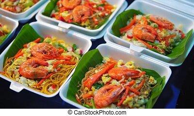 market., nourriture, asie, traditionnel, rue, nuit