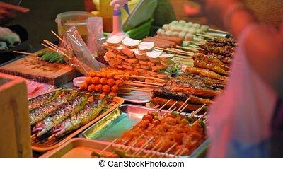 market., nourriture, nourriture, traditionnel, rue, asiatique