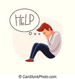 market., sien, effondrement, désespéré, face couverture, cris, man., vector., homme affaires, tomber, downtrend., hands., stockage