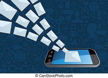 marketing téléphone, éclaboussure, email, icône