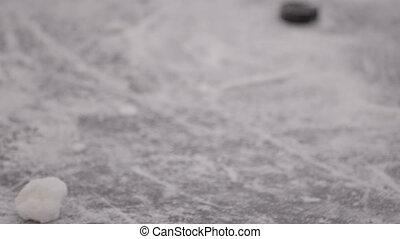 marqué, joueur, goal., champ, jeu, hockey, toxicomanogène