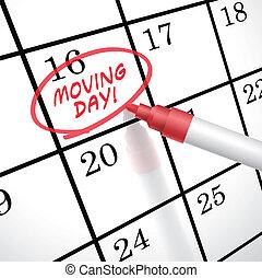 marqué, jour, en mouvement, mots, calendrier, cercle