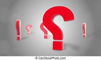 marque, 3d, rouges, rotation, boucle, signe, animation, question, mur