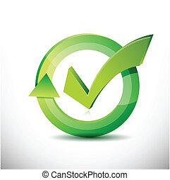 marque, –, approbation, signe, chèque, cycle
