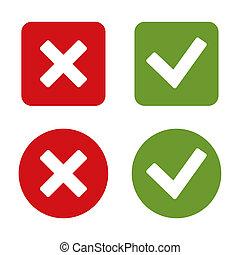 marque, chèque, buttons., autocollants, rouges, green.