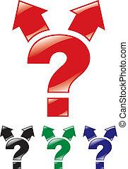 marque, deux, directions, flèches, question