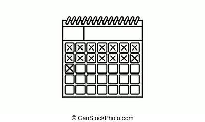 marque, mois, calendar., by., croix, animé, vidéo, fins, aller, jours, calendrier, marks.