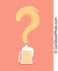 marque, question, bière, illustration
