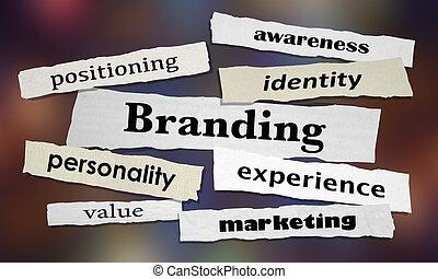 marquer, illustration, expérience, commercialisation, nouvelles, gros titres, conscience, 3d