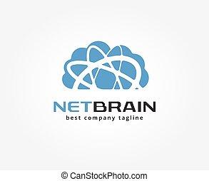 marquer, résumé, stockage, logotype, vecteur, conception, gabarit, logo, concept., nuage, icône