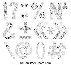 marques, inhabituel, alphabet, griffonnage, style, fond blanc, ponctuation