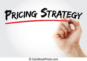 marqueur, écriture, main, établissement des prix, stratégie