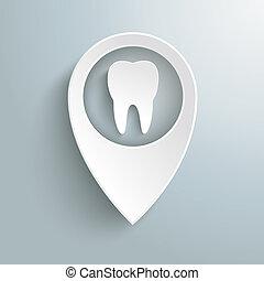 marqueur, blanc, emplacement, piad, dent