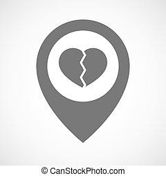 marqueur, carte, cassé, isolé, coeur