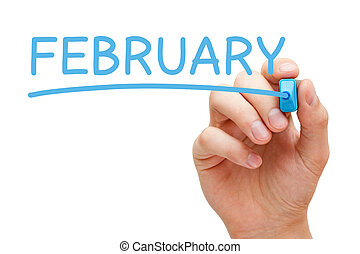 marqueur, février, bleu