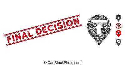 marqueur, gratté, final, mosaïque, décision, timbre, impasse, lignes