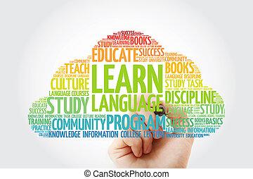 marqueur, mot, nuage, langue, apprendre