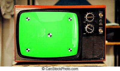 marqueurs, écran, vieux, tv, transition, vert