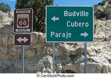 marqueurs, américain, historique, 66, autoroute, sud-ouest
