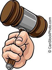 marteau, dessin animé, tenant main, juge, poing, marteau