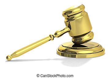 marteau, doré, juge, isolated., symbole, justice, concept