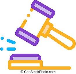 marteau, droit & loi, jugement, tribunal, vecteur, icône, illustration