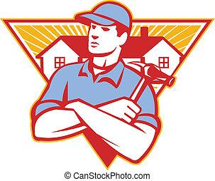 marteau, fait, triangle, bras, construction, traversé, maison, ouvrier, fond, ensemble, intérieur, constructeur, style., retro, illustration